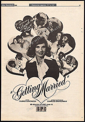 GETTING MARRIED__Original 1976 Trade Print AD / TV promo_poster__CLORIS LEACHMAN