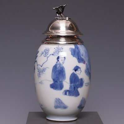 Nice Kangxi B&W Dutch silver mounted teacaddy, 18th ct, marked: Artemisa.