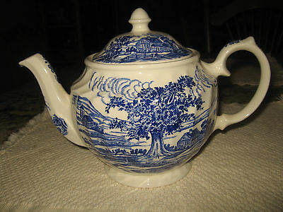 Vintage BLUE & WHITE TEAPOT WINDSOR Pottery Made in England