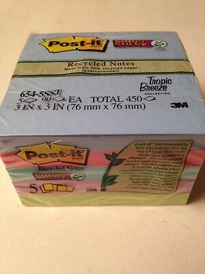 """Post-it Super Sticky 3""""x3"""" Recycled Tropic Breeze Notes 5 Pads/Pk"""