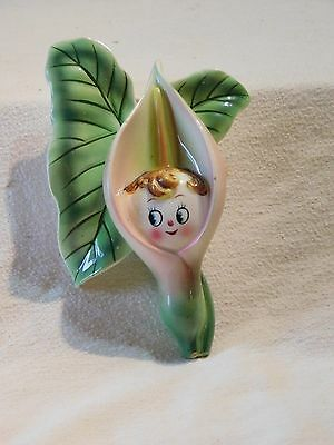 Vintage Anthropomorphic PY, Japan, Wall Pocket, Pink Cala Lily Flower Face