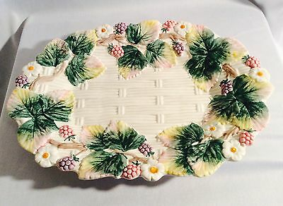 Vintage 1990 Fitz & Floyd Oval Basketweave Berry Serving Platter