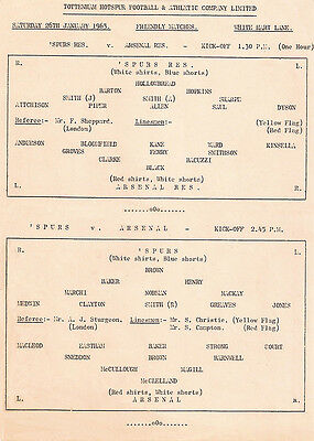Tottenham Hotspur V Arsenal 1963 Friendly Single Sheet Programme Clean Copy
