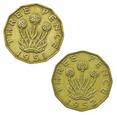 Great Britain, George Vi Threepence, 2 Coins, 1951 & 1952