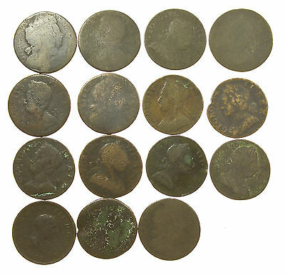 Great Britain, Early & Milled Halfpenny Collection, 15 Coins