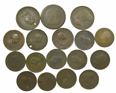 Great Britain, Early & Milled Penny & Halfpenny Collection, 17 Coins