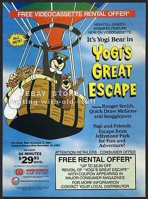 YOGI BEAR'S GREAT ESCAPE__Original 1987 Trade Print AD / promo__HANNA-BARBERA