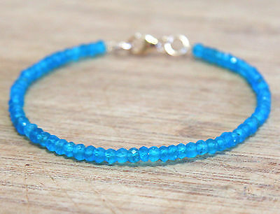Natural Neon Blue Apatite Bangle Stacking Bracelet 14k Yellow Gold Filled Canada
