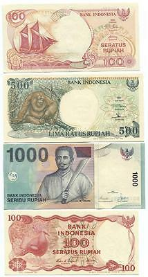 Indonesia set of 4 Banknotes Mint Uncirculated 1984 to 2000 - #1 01