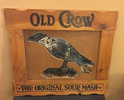 Old Crow The Original Sour Mash Mirror/Sign Whiskey Advertisement