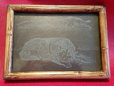 Alaskan Malamute Sleeping Etched in Glass, Framed