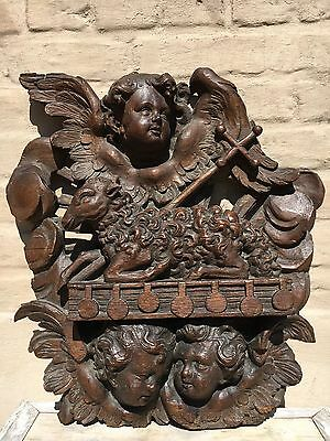 """Stunning 18th C. Gothic Carving  """"Apocalyptic lamb with the 7 Seals + cherubs"""
