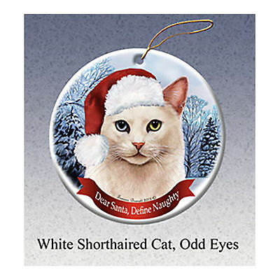 White Odd Eyes Cat Howliday Porcelain China Dog Christmas Ornament