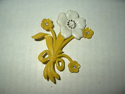 Vintage Large Yellow & White & Crystal Celluloid Old Plastic Flower Brooch Pin