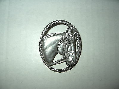 Vintage Signed 1987 SEAGULL Canada Silvertone Pewter Horse Head Brooch Pin