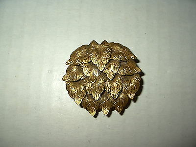 Vintage Victorian Brushed Goldtone Leaves Fur-Scarf-Dress-Shoe Clip