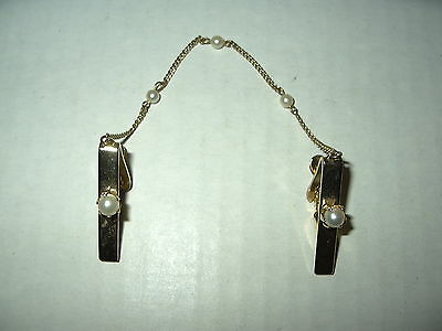 Pretty Vintage Goldtone & Pearl Chain Sweater & Dress Guard Clips