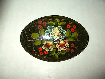 (6) Vintage Signed Russian Hand Painted Flowers On Black Lacquer Wood Brooch Pin