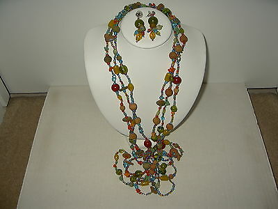 Vintage Colorful Fruit Salad 3 Strand Glass Bead Necklace & Pierced Earrings
