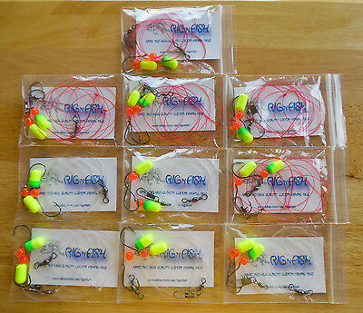 """10 - Fishing Rigs, """"The Big Package"""", Pompano, Whitings, Sea Bass, Snappers, Etc"""