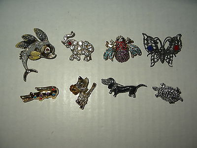 8 Vintage Gold & Silver Tone Enamel & Crystal Animal Figural Brooch Pins Lot