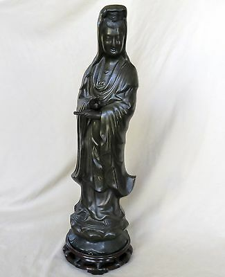 """25.5"""" Antique Chinese or Japanese Inlaid Bronze KWAN-YIN Statue with Wood Stand"""
