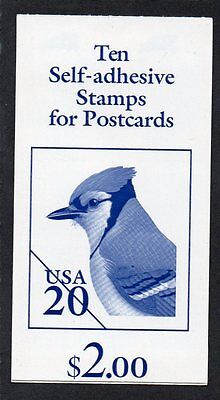 U.S. BOOKLET OF 10 SCOTT#BK237 1996 20ct BLUE JAY MINT PLATE #S2222
