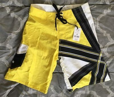 NEW C & K Board Shorts Swim Trunks Boys Yellow Black White Geo NWT Retail $9.95