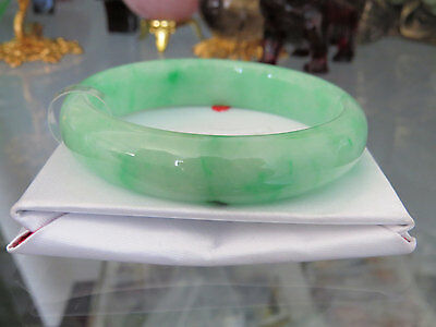 Vintage Translucent Natural Apple Green Jadeite Jade Bangle Bracelet 57MM