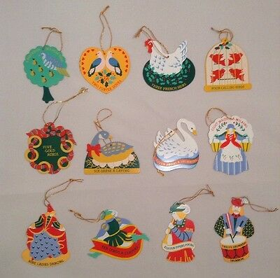 Vintage AVON 12 Days Of Christmas Metal Ornaments Set Lot Double Sided Painted