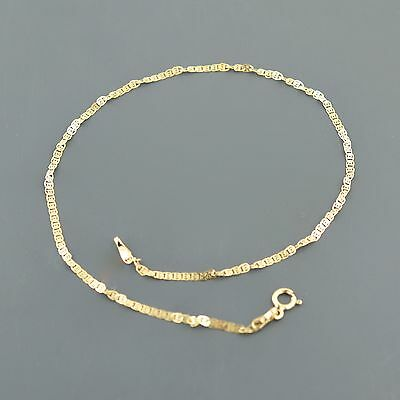 10K YELLOW GOLD 1.9mm TWISTED FLAT SNAIL CHAIN ANKLET FREE SHIPPING GIFT BOX