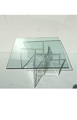 Mid Century Modern acrylic lucite and glass coffee table vintage retro