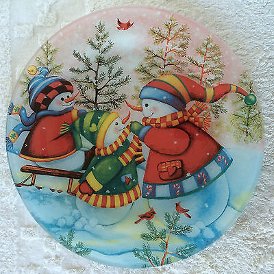 2 Piece Cake Set Plate With Server Multicolor Winter Scene Three Snowmen Playing