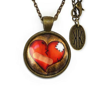 Love Hurts Broken Zombie Heart Antique Bronze Glass Gothic Valentine Necklace