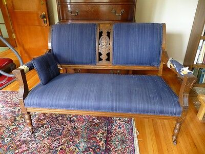 3 Piece Antique Victorian Eastlake Settee Set; Carved; Parlor Set; 2 side chairs