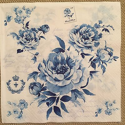 2 single paper napkins Decoupage Crafts or Collection Shabby Flowers Blue roses