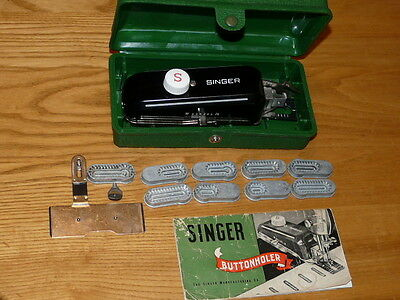 Vintage Singer Featherweight Buttonholer # 160506 with Case, Booklet & Templates