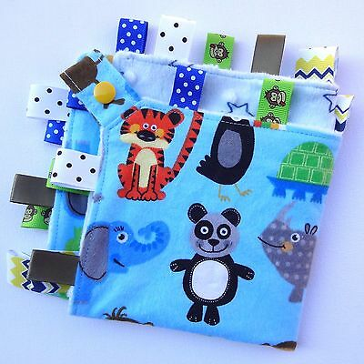 ZOO Animals Taggie Tag Security Cuddle Blanket Toy Comforter dummy clip holder