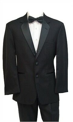 Nice Black 2 button Striped Tuxedo Wool Coat Pants ALL SIZES TUXXMAN