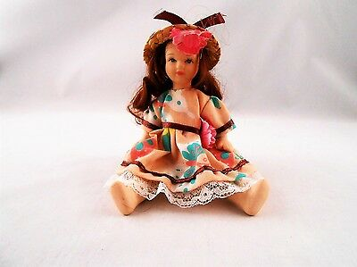 Porcelain Mini Doll Long Brown Hair Straw Hat w Carnation Jointed Peach Dress 6""