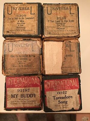 6 Piano Roll Lot UNIVERSAL INTERNATIONAL My Buddy If You Look Into Her Eyes Tore