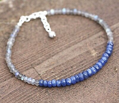Natural Canadian Labradorite and Sapphire Bracelet Long Length Sterling Silver
