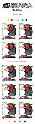 U.S. BOOKLET PANE OF 10 SCOTT#3050a 1998 20ct RING NECKED PHEASANT P#V2222