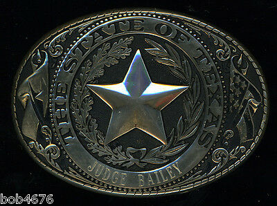 "AWESOME GOLD Tone Seal of Texas Belt Buckle engraved with ""Judge Bailey"" Texana"
