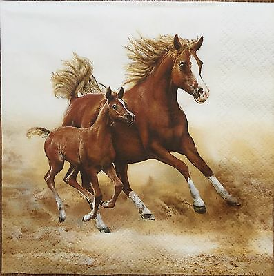 2 single paper napkins for Decoupage Scrapbooking Crafts or Collection Horses