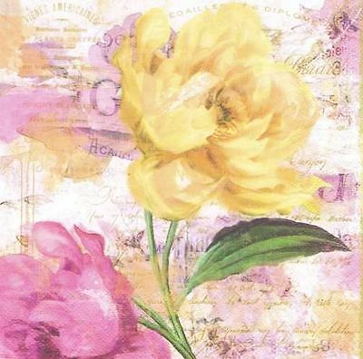 2 single paper napkins for Decoupage Crafts or Collection Watercolors Flowers