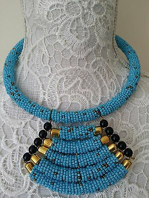 Ethnic tribal African Kenyan Masai jewelry 5 tier tube bead necklace