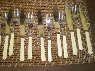 Colletable vintage set of 6 cake or desert Knive and fork set chromium plated
