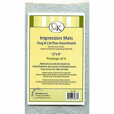Icing / Fondant Impression Texture Mat - CAT & DOG PAWS Assorted pack 4