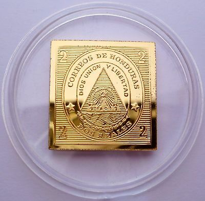 Honduras 2 Reales Stamp 1866 24 Kt Gold Plated on Silver - Proof Rare